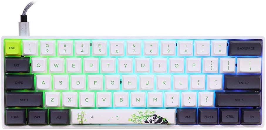 EPOMAKER SK61 61 Keys Hot Swappable Mechanical Keyboard with RGB Backlit, NKRO,Type-C Cable for Win/Mac/Gaming (Gateron Optical Yellow, Panda)