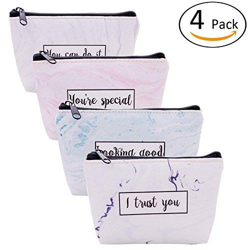 Marble Coin Purse Change Cash Bag Money Holder Wallet Small Zipper Clutch Card Pouch Travel Pocket for Women Girls (Halloween Makeup Zipper)