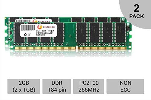 2GB KIT 2 x 1GB DIMM DDR NON-ECC PC2100 266MHz 266 MHz DDR-1 DDR1 2G Ram Memory by ()