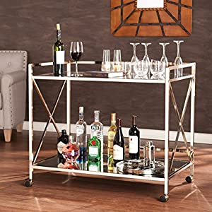 Maxton Rolling Bar Cart – 2 Large Open Display Shelves – Smooth Castors
