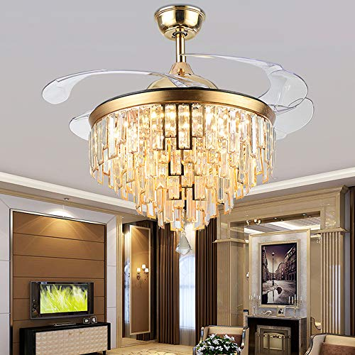 Reverse Ceiling Fan with Lights Modern Chandelier Ceiling Fan Retractable 42 Inch Golden Ceiling Fan with Crystal Invisible Remote LED 3 Color Changing Light-6 Gear Speed for Indoor Decoration