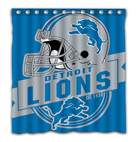 Felikey Custom Detroit Lions Waterproof Shower Curtain Colorful Bathroom Decor Size 66x72 Inches (Shower Curtain Detroit Lions)