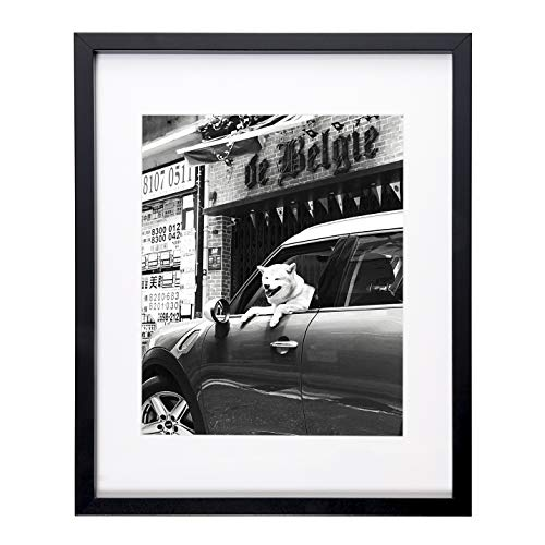 Flagship Frames 11x14 Picture Frame Black Sized 8x10 Inch with Mat and 11x14 Inch Without Mat Pre-Installed Wall Mounting Hardware with Back Easel (Black)