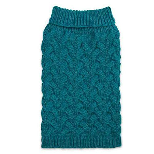 Elements Warm Chunky Cable Knit Pattern Sweaters For Dogs In Teal And Burgundy by Defonia Petsupplies