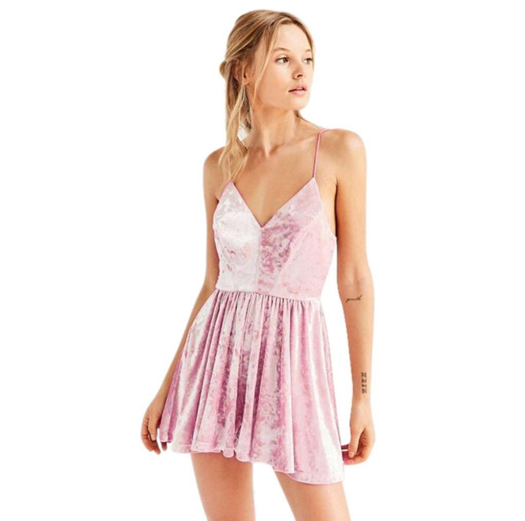 NEARTIME Women's Dress, Bandage Velvet Evening Party Short Mini Dresses Strap Skirt (L, Pink)