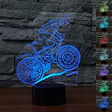HeXie Christmas Gift Magic Flying Bike Lamp 3D Illusion 7 Colours Touch Switch USB Insert LED Light Birthday Present and Party Decoration