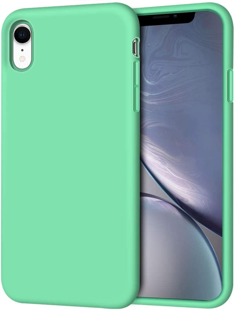 """iPhone XR Case, Anuck Soft Silicone Gel Rubber Bumper Phone Case with Anti-Scratch Microfiber Lining Hard Shell Shockproof Full-Body Protective Case Cover for Apple iPhone XR 6.1"""" 2018 - Spearmint"""