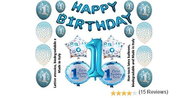 Shopama Globos Decorativos 1 Primer cumpleaños 1 año bebé Azul ...