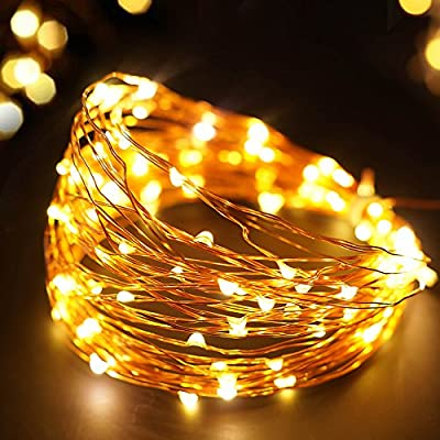 Bright Zeal 33' Ft LED Battery Operated String Lights with Timer - Fairy String Lights for Patio Wedding Party - LED Battery Lights String Copper Lights String Battery Operated - Home Seasonal Decor