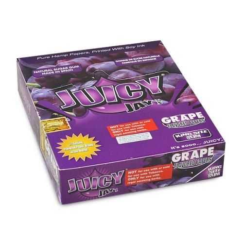 (24 Packs (1 box) Juicy Jay's King Slim Pure Hemp Rolling Papers -)