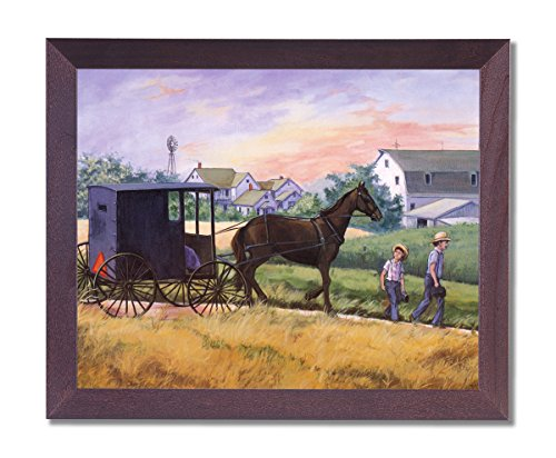Framed Cherry Amish Man Horse Buggy Windmill Pictures Art Print