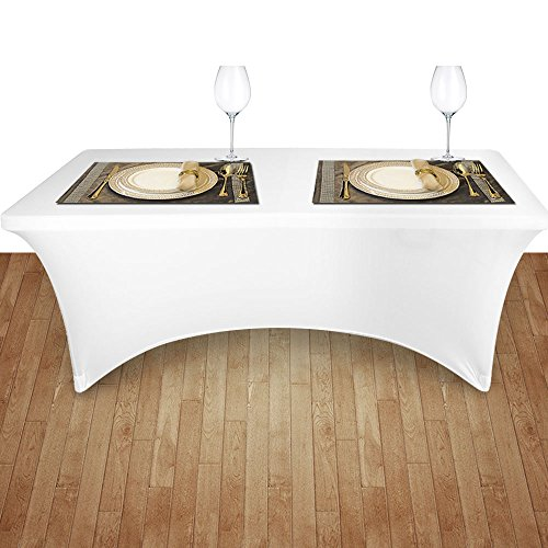 LeeVan Premium Fabric Wrinkle-free stretch Table Covers Rect