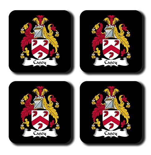 Casey Coat of Arms/Family Crest Coaster Set, by Carpe Diem Designs - Made in the U.S.A.