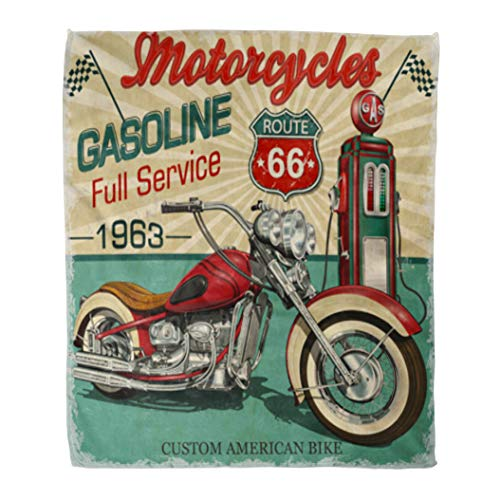 Golee Throw Blanket Retro Vintage Gasoline Route 66 Classic Motorcycles Biker Moto Sign 60x80 Inches Warm Fuzzy Soft Blanket for Bed Sofa