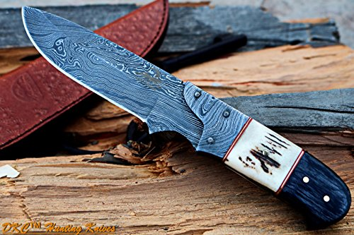 DKC Knives DKC-715 Swagger Stag Horn Hunting Handmade Knife Fixed Blade 8.5 oz 9 Long 4 Blade