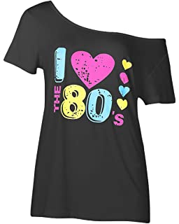 e7a32d6ac Smile fish Women's I Love The 80's Off The Shoulder Tops Disco 80s Costumes T  Shirts