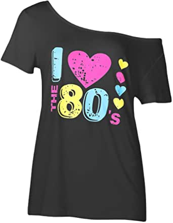 Smile fish Women Casual 80s Party Costumes Print Off Shoulder T-Shirt