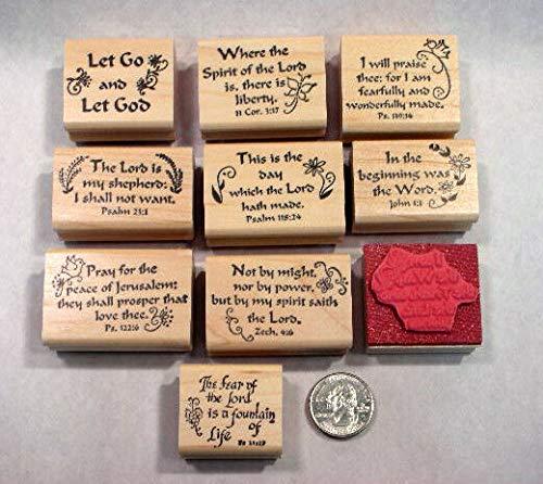 10 Scripture Stamps, Wood Mounted, Set #3