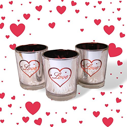 Love Candles - Set of 3 Silver Metallic Votive Candle Holders - 3 White Flameless Tealights Included Glass Love Heart Tealight Holder