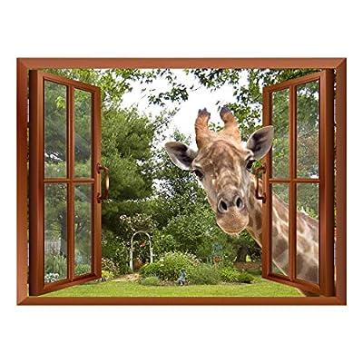 A Curious Giraffe Sticking its Head into an Open Window Removable Wall Sticker/Wall Mural - 36