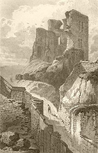 YORKSHIRE. Keep of Scarborough, Yorkshire. DUGDALE - 1845 - old print - antique print - vintage print - Yorkshire art prints - Scarborough Castle