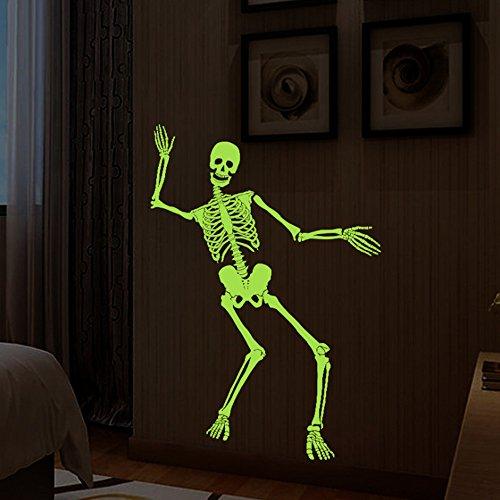 Wall Stickers - Creative Luminous Skeleton Skull Wall Sticker Halloween Fluorescent Wallpaper Home Bedroom Bar Decor - Animals Emoji Bedroom Hers Dark His Through God One Hippie