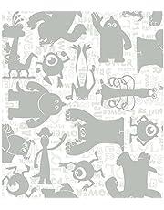 York Wallcoverings Walt Disney Kids II Graphic Monsters Wallpaper Memo Sample, 8-Inch x 10-Inch, White/Grey/Silver