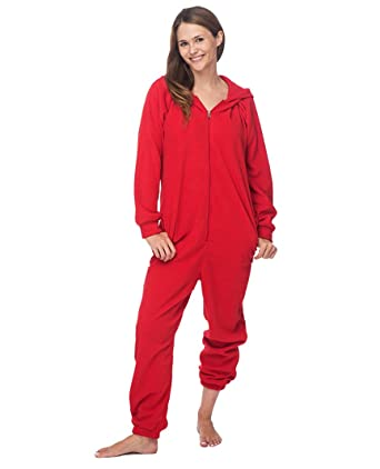 a2383552f9d4 Adult Unisex Fleece Lounger - Red Onesie at Amazon Women s Clothing ...