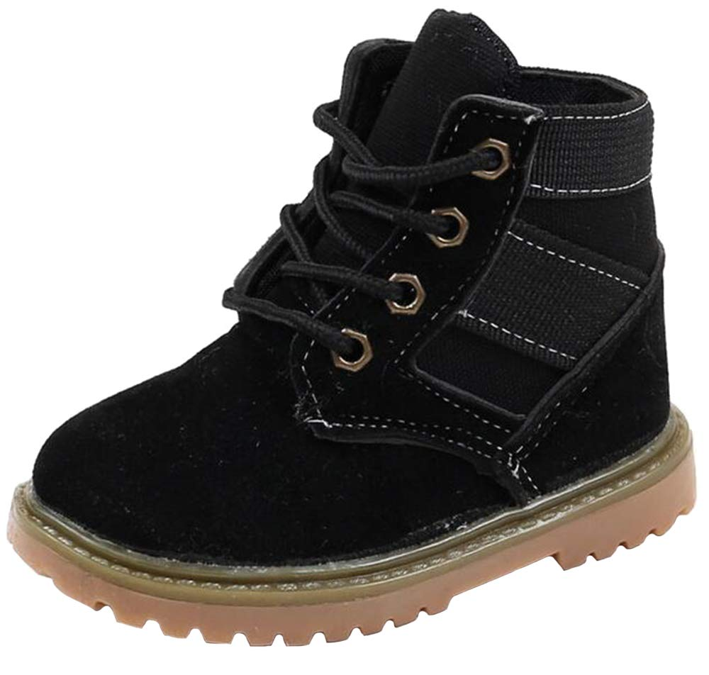 WUIWUIYU Boys' Girls' Lace-Up Short Ankle Boots Retro Oxford Casual Walking Shoes Toddler Little Kid