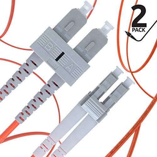 LC to SC Fiber Patch Cable Multimode Duplex - 3m (9.84ft) - 50/125um OM2 (2 Pack) - Beyondtech PureOptics Cable Series
