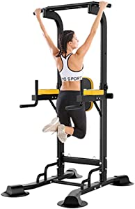 Power Tower Pull Up Bar, Adjustable Height Pull Up & Dip Station Multi-Function Home Gym Strength Training Fitness Workout Station (Dip Stand)