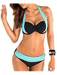 NORAME Women Straps Halter Patchwork 2 Pcs Swimsuit Set Wired Padded Top+ Bottom