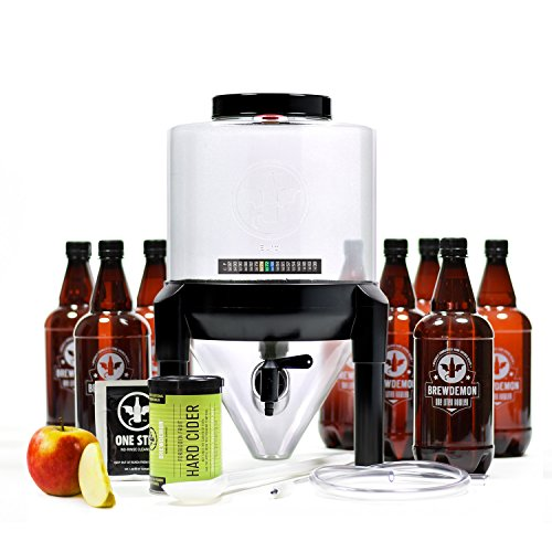 Hard Cider Kit - BrewDemon Hard Cider Kit Extra by Demon Brewing Company - NO SIPHON HOSE OR AIRLOCK REQUIRED Easy To Use Craft Beer Starter Kit With Reusable Conical Fermenter, Equipment and Ingredients - Make Wicked