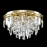 Modern Polished Gold 5 Way Lead Crystal Jewel Diamond Effect Droplet Flush Ceiling Chandelier F