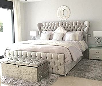 official photos bf4c4 c72a1 Lazybeds OXFORD SMALL DOUBLE CRUSHED VELVET DIAMANTE BED ...