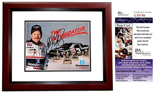 (Dale Earnhardt Sr. Autographed Signed Nascar Racing 8x10 inch Photo MAHOGANY Custom Frame JSA Authentic COA Deceased 2001)