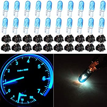 Total of 40 Pcs cciyu Blue Car T5 Halogen Bulbs Replacement fit for Marker Clearance Light Auto Side Lamp 70 2721 With Twist Lock Sockets