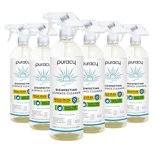 Puracy Disinfectant, Produce Wash, Disinfecting Surface Cleaner, Peroxide-Powered Sanitizer Spray for Kitchen, Bathrooms, Toys, Fruits and Vegetables, Free & Clear, 25 Fl Oz (6-Pack)