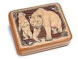 6x5'' Box With Black And Burlwood Knife - Bear/Paw