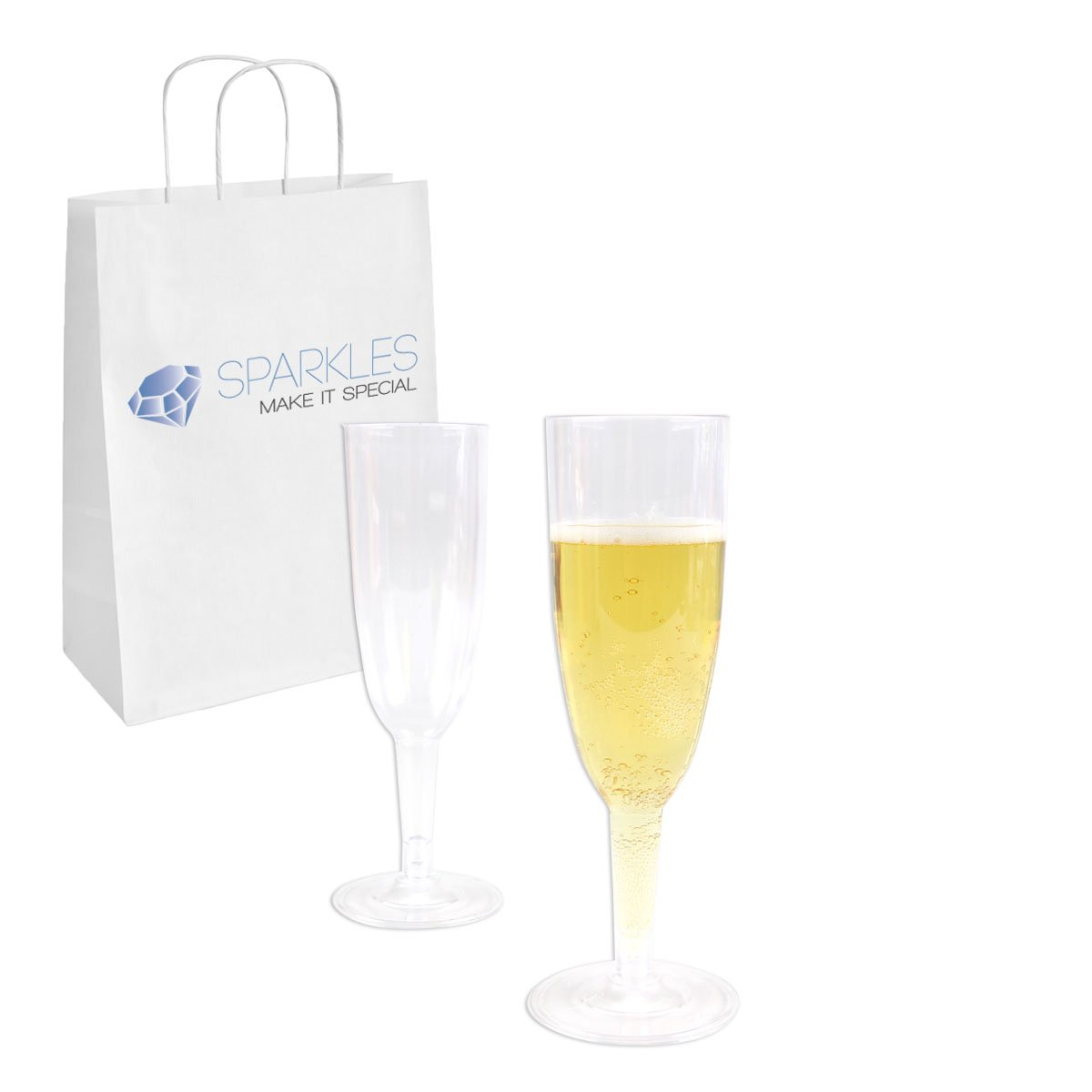 Sparkles Make It Special 120-pcs 6.5 Inch Plastic Champagne Glasses Flutes Wedding Party Clear by Sparkles Make It Special
