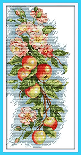 Dahlia DIY Flowers and Fruits Apples Counted Cross Stitch Ki