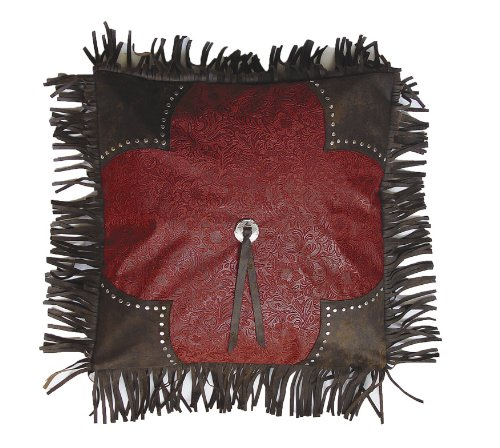 HiEnd Accents Cheyenne Western Scalloped Accent Pillow, Red