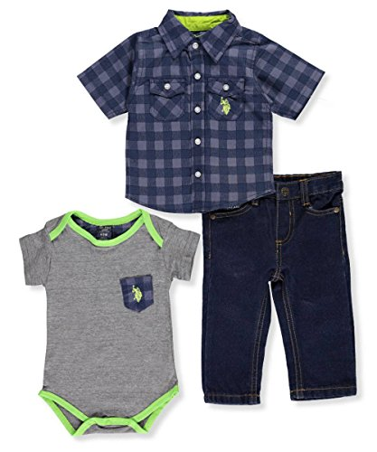 Trim Jeans Pants (U.S. Polo Assn. Baby Boys' 3-Piece Outfit - blue/gray, 6-9 months)