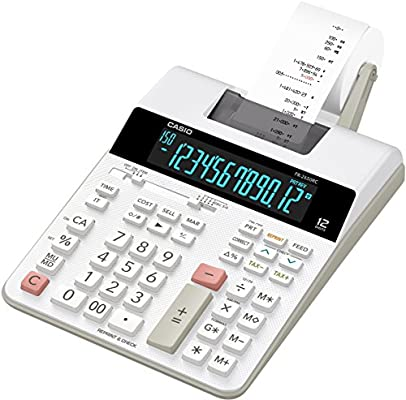 Casio FR-2650RC - Calculadora impresora, 12 dígitos, 6.5 x 19.5 x 31.3 cm, color blanco