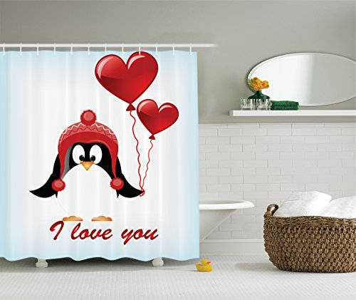 Valentines Decor Shower Curtain Set By Ambesonne, Happy Birthday Balloons I Love You, Bathroom Accessories, 75 Inches Long