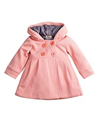 Baby Toddler Girls Fall Winter Trench Coat Wind Hooded Jacket Kids Outerwear (6-12 Months, Skin Pink)