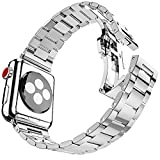 iiteeology Ultra Thin 38mm Stainless Steel Replacement Band Compatible Apple Watch Series 3/2/1 - Silver