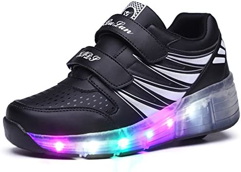 Ufatansy USB Charging Shoes Roller Shoes Girls Roller Skate Shoes Boys Kids LED Light up Wheel Shoes Roller Sneakers Shoes Wheels for Kids / US