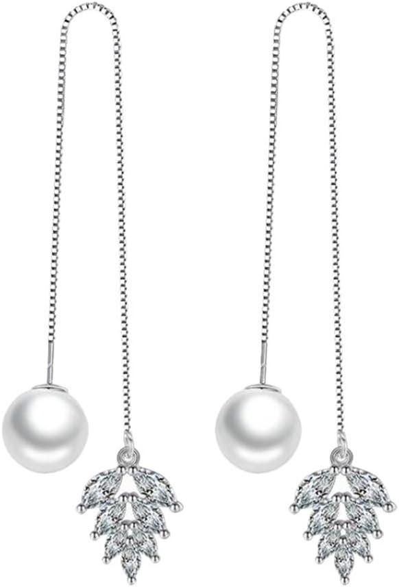 BIGBOBA. - Pendientes Largos de Perlas de Temperamento con circonitas Plateadas con borlas de Hielo para Mujeres, niñas, cumpleaños, Festivales, Navidad, Regalo (A)
