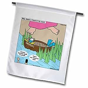 Rico Diesslin los dibujos animados antiguo testamento–éxodo 2110madre es la necesidad de invención Biblia Moisés Reeds Calypso Cousteau máscara barco–banderas